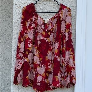 Lucky Brand Red & Ream Floral Peasant Top Size 2X